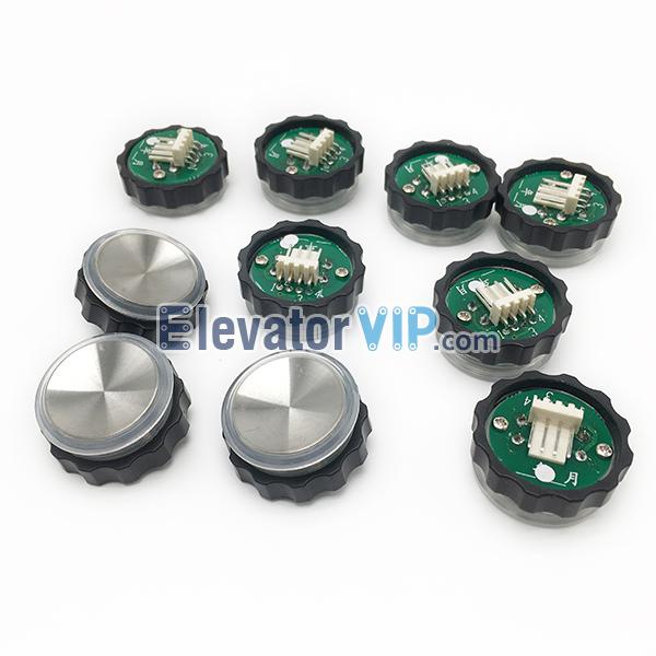 XIZI OTIS Elevator Push Button, OTIS Lift Push Button, OTIS Hairline Stainless Steel Push Button, BR27A, BR27B, BR27C, OTIS Elevator Push Button Used in COP, OTIS Elevator Push Button Red Lights, OTIS Push Button illumination Color Blue, Elevator Push Button White Lights with 4-Pins