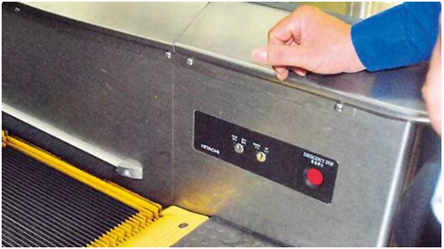 Where is the escalator emergency stop switch (key switch box) installed?