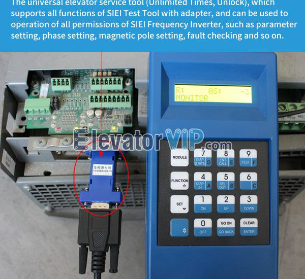 The universal elevator service tool (Unlimited Times, Unlock), which supports all functions of SIEI Test Tool with adapter, and can be used to operation of all permissions of SIEI Frequency Inverter, such as parameter setting, phase setting, magnetic pole setting, fault checking and so on.