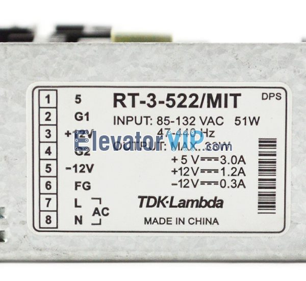 Mitsubishi Lift Control Cabinet Power Supply, Mitsubishi Elevator Power Supply, RT-3-522/MIT, RT-3-522 51W, TDK-Lambda Power Supply, X59LX-30, Elevator AC DC Converter, CEM-394V-0, X59LX-95, X59LX-26, X59LX-203, Elevator Power Supply Manufacturer, RT-3-522 Power Supply with Factory Price, Cheap Power Supply for Lift Control Cabinet