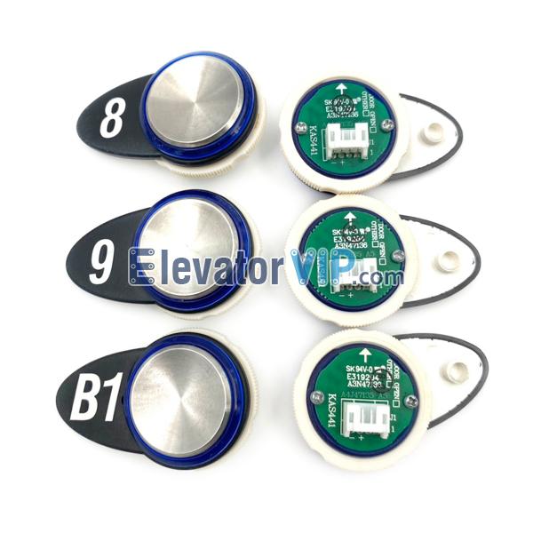 OTIS GEN2 comfort Elevator Push Button, OTIS Lift Push Button Supplier, KAS441, A3N47136, A4J47135, OTIS Elevator Blue Lights Push Button, OTIS Elevator Push Button Green Illumination
