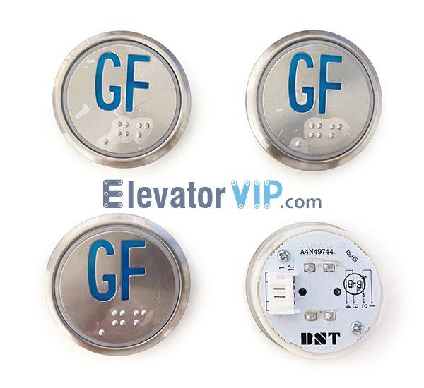 Otis Elevator Push Button, BST Lift Push Button Blue Light, BST Lift Push Button Orange Lights, A4N49744, A4J49743