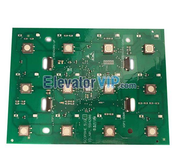 3300 Elevator COP Push Button Board, SCOPBHE 5.Q, ID.NR.594208, ID.NR.594209