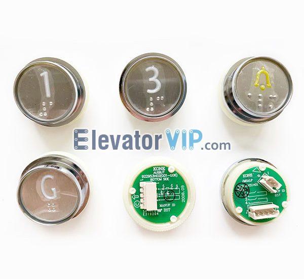 922953H02(G01-G06), 922963H01, 922973H02, KONE Elevator Push Button AUSBUT, KONE Lift Push Button Braille, KONE Lift Push Button White Light