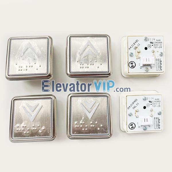 Hitachi Elevator Push Button, SJEC Elevator Push Button Supplier, BST Elevator Push Button Braille Square, A4J18481