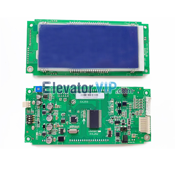 Elevator LCD Display Board, Elevator LCD Display PCB Supplier, ThyssenKrupp Elevator LCD Indicator, Otis Elevator LCD Display, SJEC Lift LCD Indicator in Hall, A3J55806 A4, A3N55807, KVL262